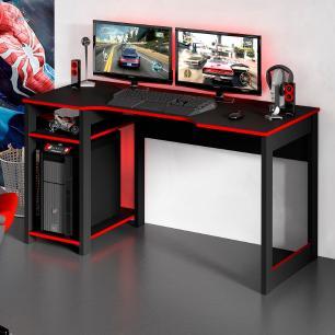 Mesa Gamer Escrivaninha Tecno Reversível Preta Vermelho