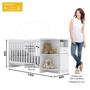Berço Mini Cama Mosaico 3x1 Infantil Flex Henn Br/Rústico