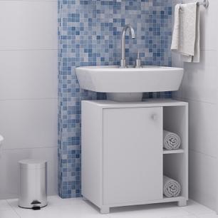 Balcão Para Banheiro 1 Porta 1 Prateleira Bbn 01 - Branco