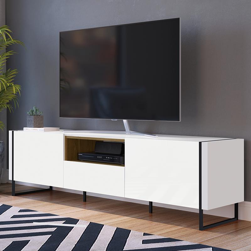 Rack Para Tv Sala Com 2 Prateleiras Em Mdf - Hanover Branco