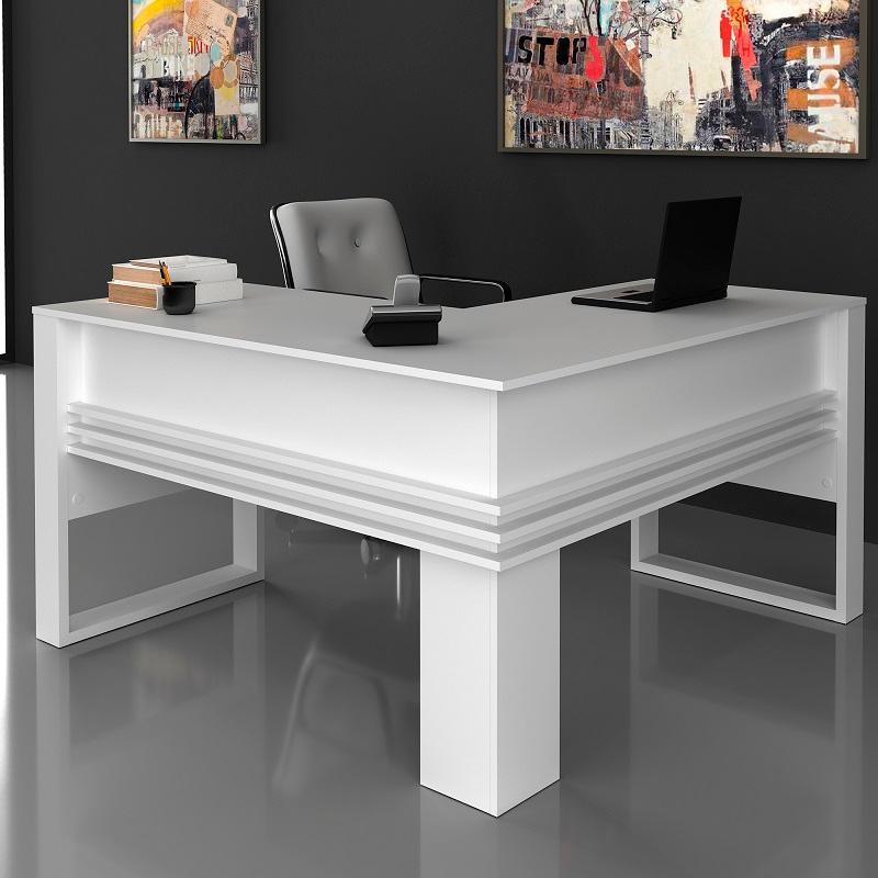Mesa em L Escrivaninha Home Office Tecno Branco