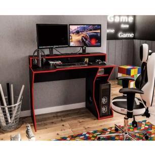Mesa Gamer Computador Escrivaninha Preto Vermelho Fremont