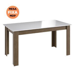 Mesa Fixa Jantar Cozinha Multiuso 150x78cm - Ameixa/branco