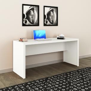 Mesa Reta Escrivaninha Escritório Home Office 163cm Branco