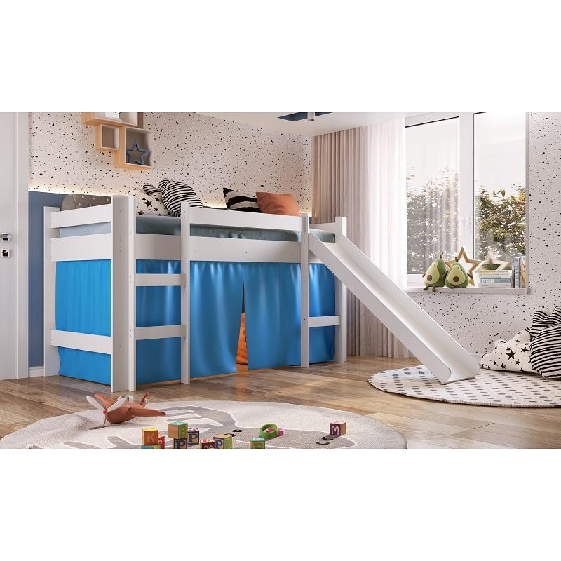 Cama Infantil Elevada com Escorregador Cortina Azul Playground