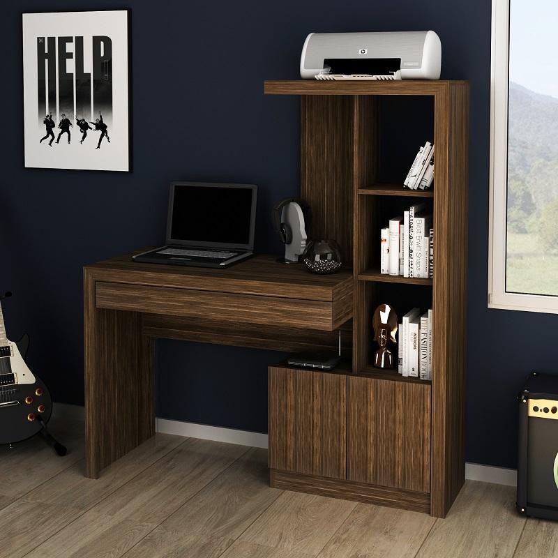 Mesa escrivaninha Estante Home Office 2 portas 1 Gaveta Ngal