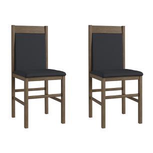 Conjunto 2 Cadeiras Madeira Tecido Corino 600 - Ameixa Negra