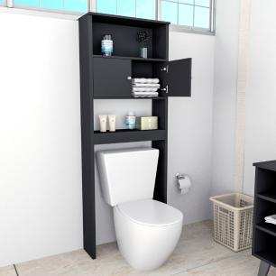 Armário Alto Organizador Banheiro Portas Prateleiras Preto