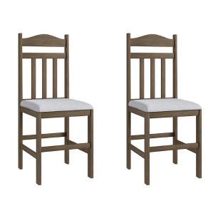 Conjunto 2 Cadeiras Madeira Tecido Corino 200 - Ameixa Negra