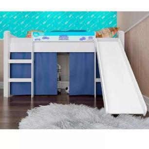 Cama Infantil Elevada Com Escorregador E Cortina Azul - Branco