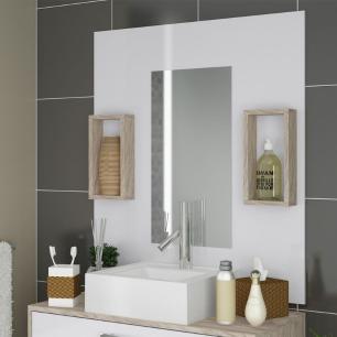 Conjunto para Banheiro Gabinete Suspenso e Gaveteiro Completo com Nicho e Cuba 80 cm