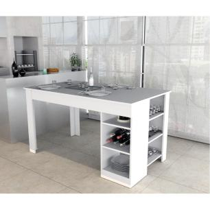 Mesa Para Sala de Jantar Cozinha 2 Prateleiras Branca