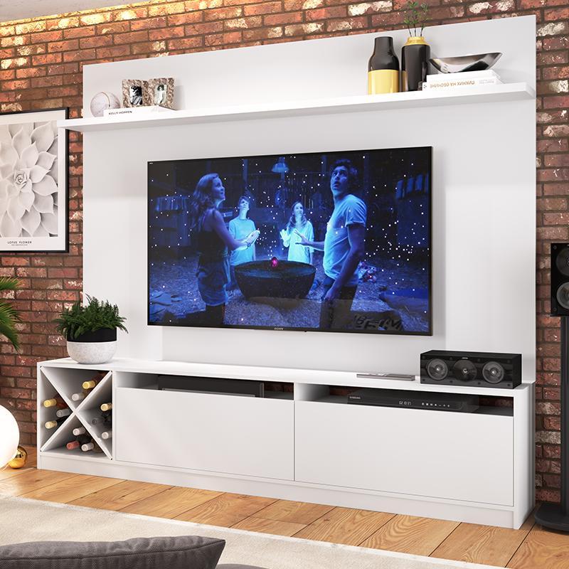 Painel Home Suspenso Sala Para Tv 2 Portas E 5 Prateleiras