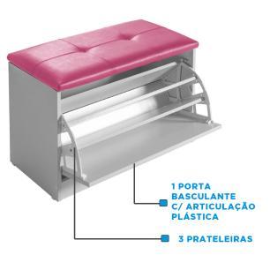 Sapateira Puff Bau Cama Versatile Premium Luxo Até 12 Pares Branco - Estofado Rosa