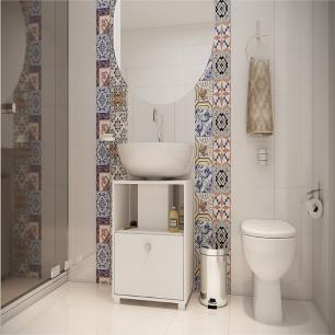 Balcão Para Banheiro 1 Porta 1 Prateleira Bbn 02 - Branco