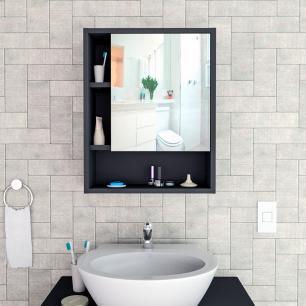 Armário Espelho Suspenso Banheiro Porta Prateleira Preto
