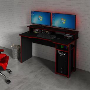 Mesa Gamer Escrivaninha Tecno nicho Preto Vermelho