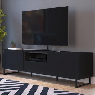 Rack Para Tv Sala Com 2 Prateleiras Em Mdf - Marquina Preto