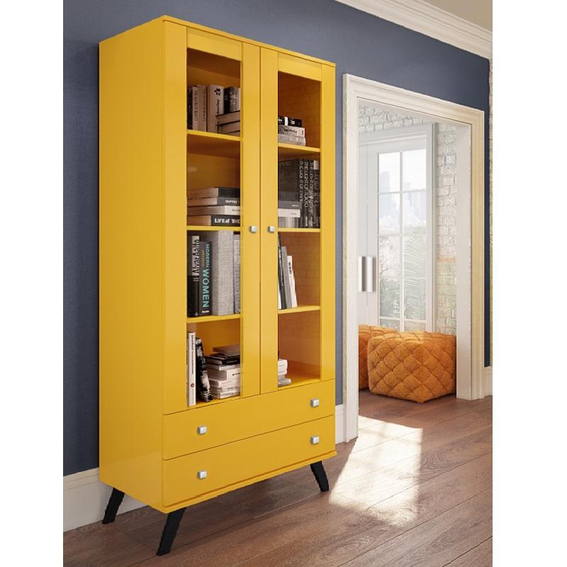 Cristaleira Retrô Amarelo 2 Portas De Vidro E 2 Gavetas