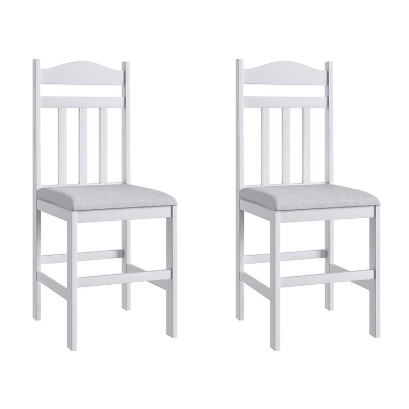 Conjunto 2 Cadeiras Madeira E Tecido Corino 200 - Branco