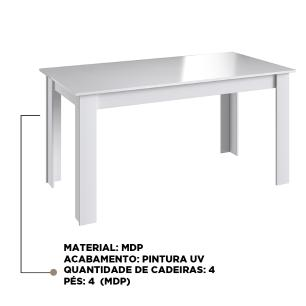 Mesa Fixa De Jantar Cozinha Multiuso 120x78cm - Branco