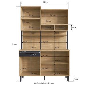 Kit Cozinha Compacta Balcão Torre Quente 5 Porta Mel Grafite