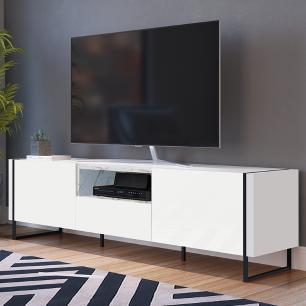 Rack Para Tv Sala Com 2 Prateleiras Em Mdf - Thassos Branco