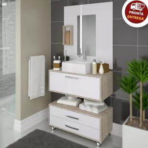 Conjunto para Banheiro Gabinete Suspenso e Gaveteiro Completo com Nicho e Cuba 60cm
