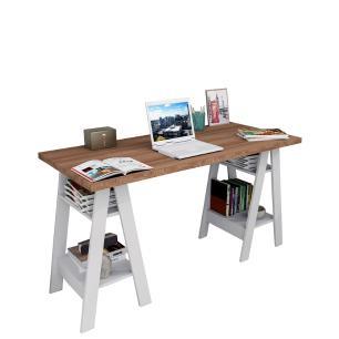 Mesa Mesinha Escrivaninha Cavalete Industrial Castanho Branco