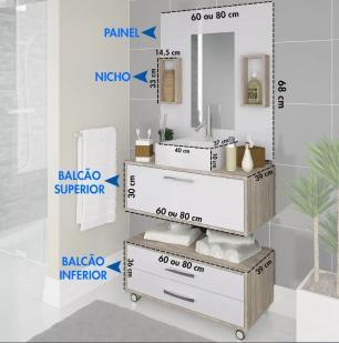 Conjunto para Banheiro 1 Espelheira e Cuba com Nichos Gabinete Suspenso e Gaveteiro