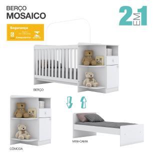 Berço Mini Cama Mosaico 3x1 Infantil Flex Henn Branco