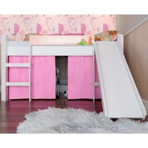 Cama Infantil Elevada C/ Escorregador Cortina Rosa - Branco