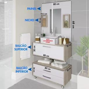 Conjunto Gabinete De Banheiro Com Balcão Painel Gabinete Nichos