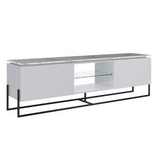 Rack Para Tv Sala Com 1 Prateleira De Vidro - Thassos Branco