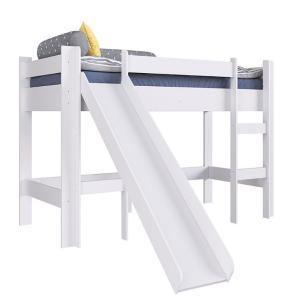 Cama Infantil Elevada Com Escorregador 100% MDF - Branco