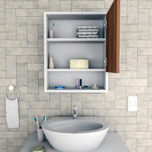 Armário Espelho Suspenso Banheiro Porta Prateleira Branco