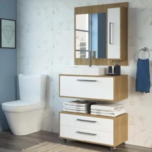 Kit Conjunto de Banheiro Completo Grécia Balcão painel e cuba