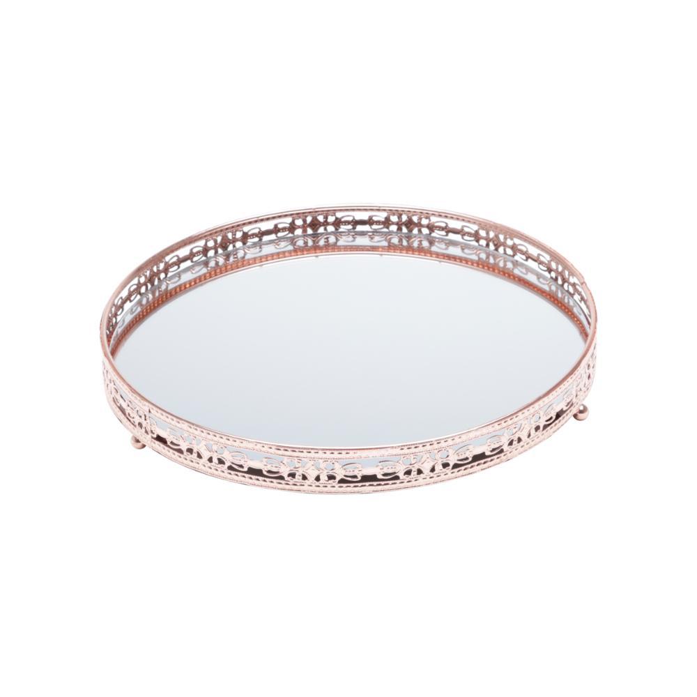 Bandeja De Ferro C/Espelho Bunch Bronze 29X29X4Cm