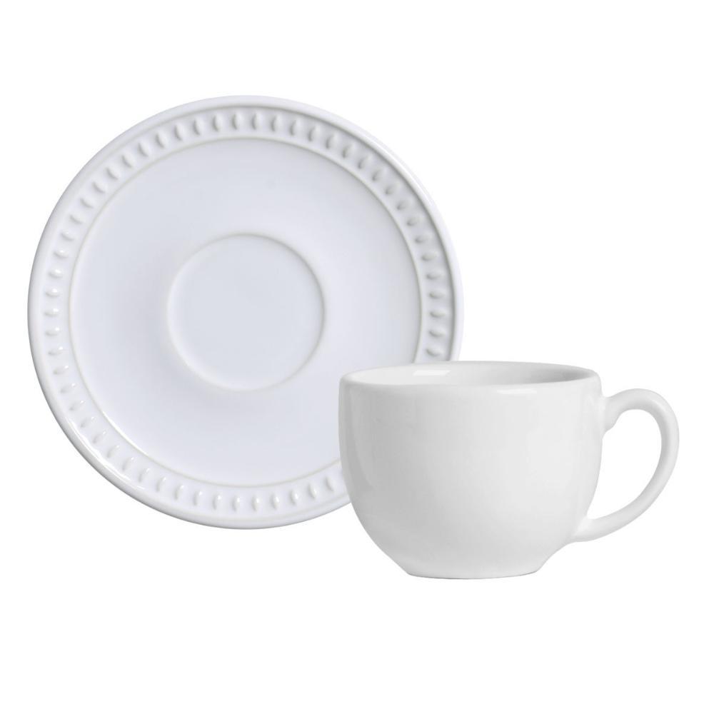 Conjunto com 6 Xícaras de Chá com 6 Pires Sevilha Branco 198 ml
