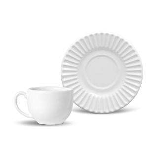 Conjunto com 6 Xícaras de Chá com 6 Pires Plissé Branco 161 ml