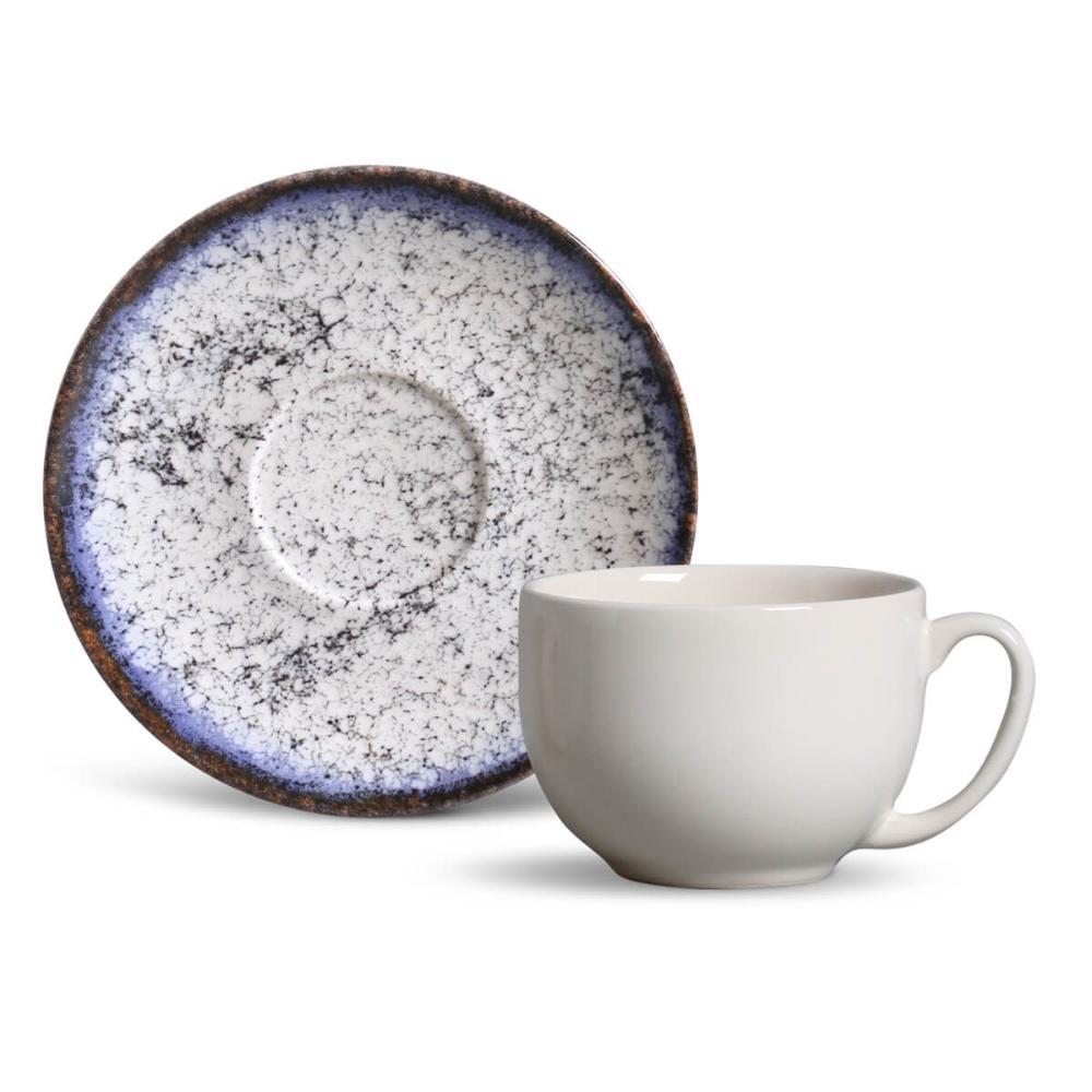 Conjunto com 6 Xícaras de Chá com 6 Pires Coup Cosmic Blue 198 ml