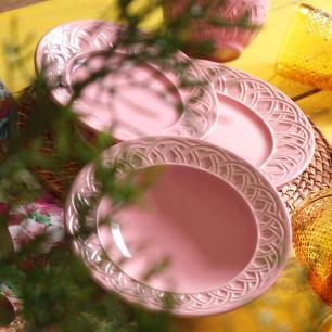 CONJUNTO C/ 6 XÍCARAS DE CHÁ C/ 6 PIRES CESTINO ROSA 161 ml