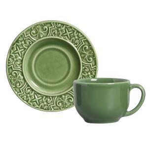 Conjunto com 6 Xícaras de Chá com 6 Pires Porto Verde Sálvia 161 ml