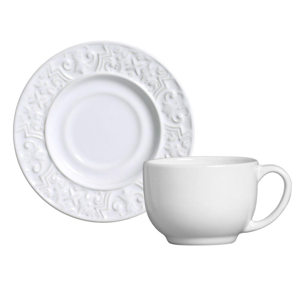 Conjunto com 6 Xícaras de Chá com 6 Pires Porto Branco 161 ml