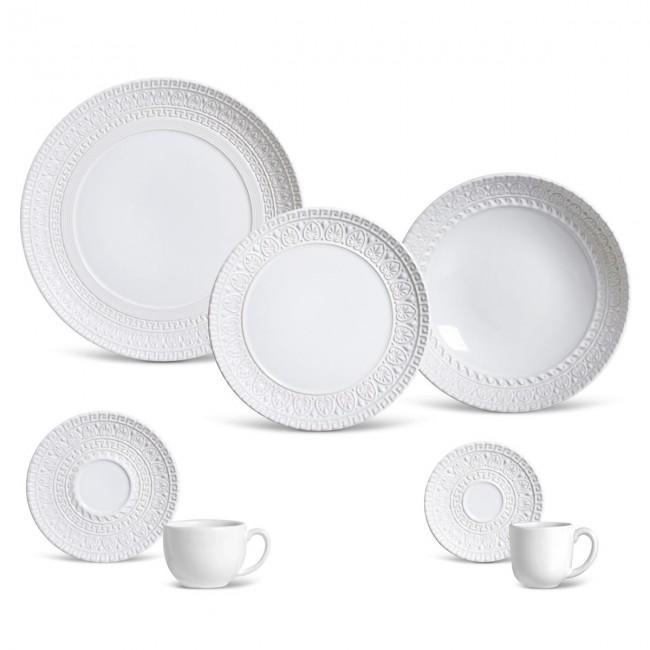 Aparelho de Jantar Greek Branco 42 Peças