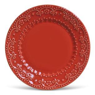 Conjunto com 6 Pratos Raso Esparta Vermelho 26cm