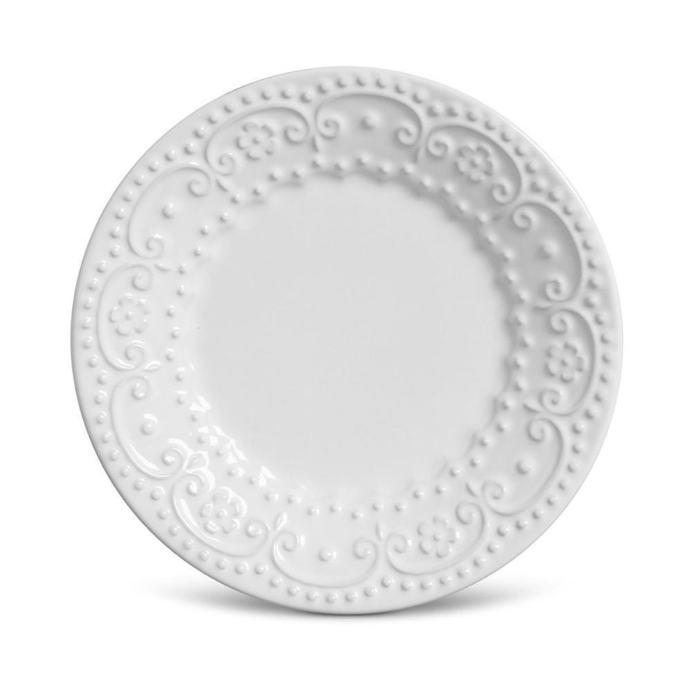 Conjunto com 6 Pratos de Sobremesa Esparta Branco 20,5 cm
