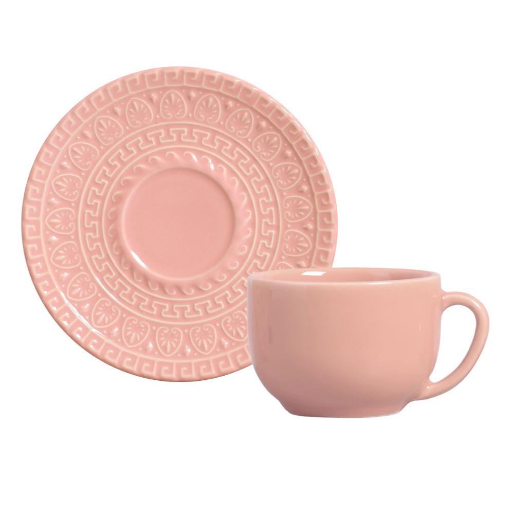 Conjunto com 6 Xícaras de Chá com 6 Pires Greek Rosa 260 ml
