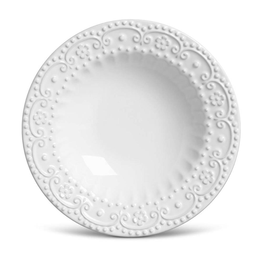 Conjunto com 6 Pratos Fundo Esparta Branco 22cm