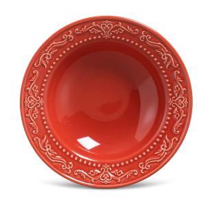 Conjunto com 6 Pratos Fundo Acanthus Vermelho 22cm